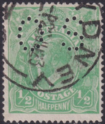 Australian Official Stamp SG O38 ½d Bright Green King George V Head (AOG/574)
