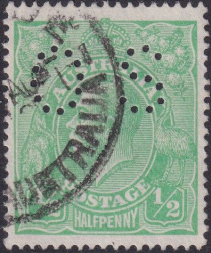 Australian Official Stamp SG O38 ½d Bright Green King George V Head (AOG/575)