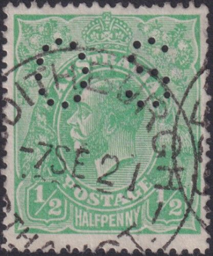 Australian Official Stamp SG O38 ½d Bright Green King George V Head (AOG/576)