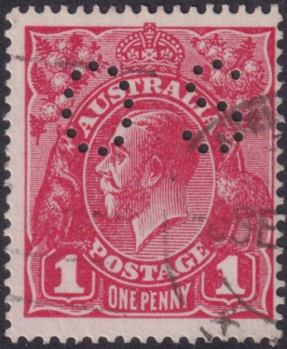 Australian Official Stamp (OS) SG O39gw 1d Carmine-red, inverted watermark, Die I King George V Head (AOG/580)