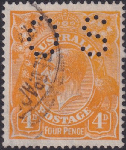 Australian Official Stamp SG O41a 4d Yellow-orange King George V Head (AOG/586)