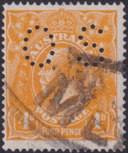Australian Official Stamp SG O41a 4d Yellow-orange King George V Head (AOG/587)