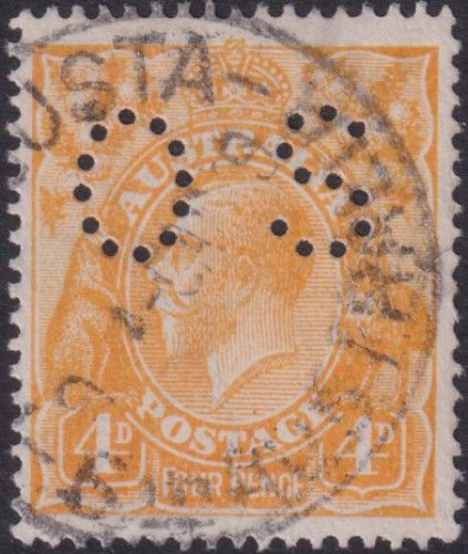 Australian Official Stamp SG O41b 4d Pale Yellow-orange King George V Head (AOG/588)