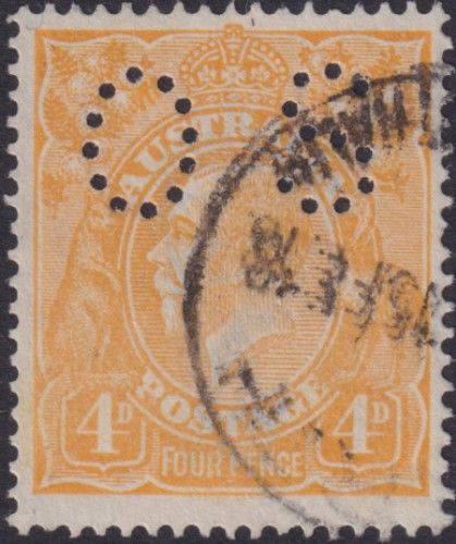Australian Official Stamp SG O41b 4d Pale Yellow-orange King George V Head (AOG/589)