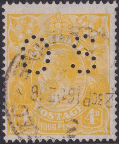 Australian Official Stamp SG O41c 4d Lemon-yellow King George V Head (AOG/591)