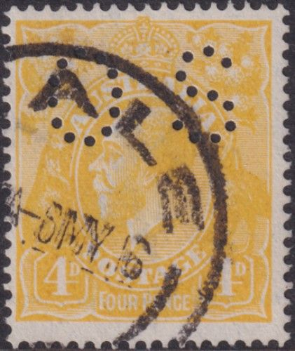 Australian Official Stamp SG O41c 4d Lemon-yellow King George V Head (AOG/592)