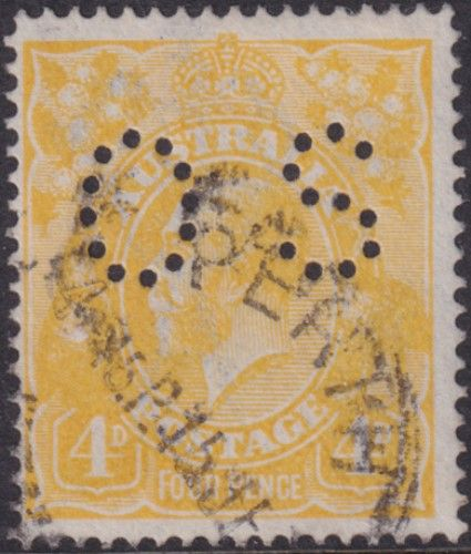 Australian Official Stamp SG O41c 4d Lemon-yellow King George V Head (AOG/593)