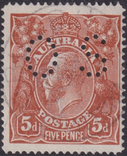 Australian Official Stamp SG O42 5d Brown line perf King George V Head (AOG/595)