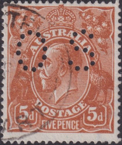 Australian Official Stamp SG O42c 5d Brown comb perf King George V Head (AOG/597)