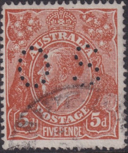 Australian Official Stamp SG O42c 5d Brown comb perf King George V Head (AOG/599)