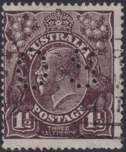 Australian Official Stamp SG O64a 1½d Black-brown King George V Head on very thin paper (AOG/632)