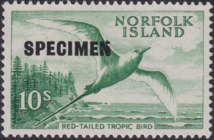 NFI SG36s(tl)v 10/- Red-tailed Tropic Bird overprinted SPECIMEN (top left) with flaw