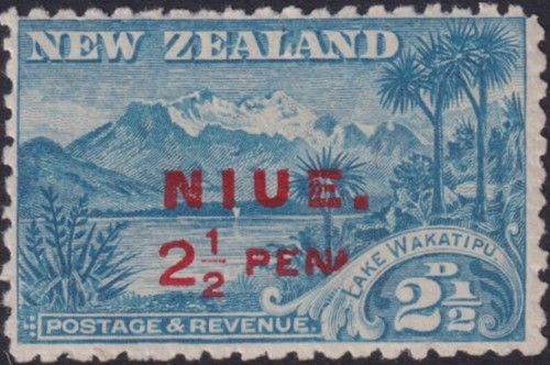 "Niue SG2a 2½d. Lake Wakatipu blue perf 11 variety no stop after ""Peni"" (UEE0/4)"