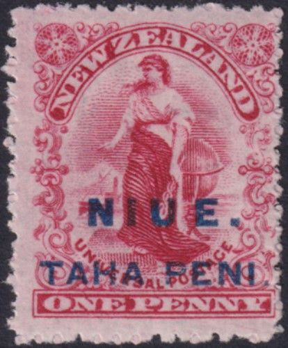 "Niue SG9b 1d. Universal carmine single watermark perf 14 variety spaced ""U"" and ""E"" (UEE0/16)"