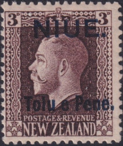 Niue SG22b 3d King George V chocolate perf 14x13½ (UEE0/22)