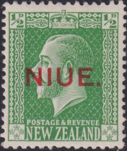Niue SG23 ½d. King George V green typo printed (UEE0/23)
