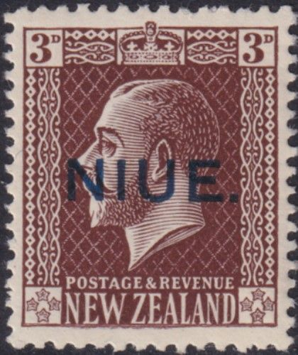 Niue SG27 3d. King George V chocolate typo printed (UEE0/33)