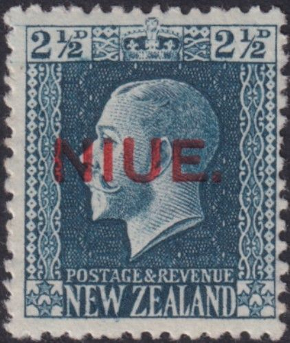 Niue SG28 2½d. King George V blue recess printed perf 14x13½ (UEE0/34)