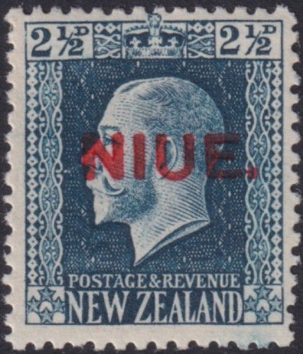 Niue SG28a 2½d. King George V blue recess printed perf 14x14½ (UEE0/35)