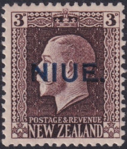 Niue SG29 3d. King George V chocolate recess printed perf 14x13½ (UEE0/36)