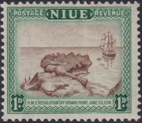 Niue SG114 1d. H.M.S. Resolution brown and blue-green