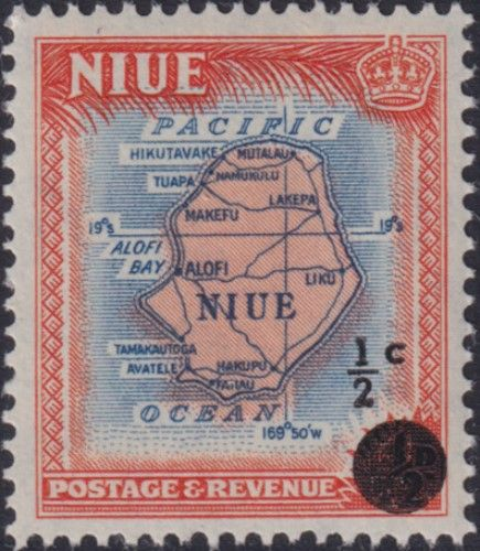 Niue SG125 ½c. on ½d Map of Niue, orange and blue