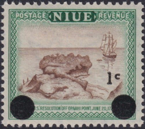 Niue SG126 1c. on 1d H.M.S. Resolution, brown and blue-green