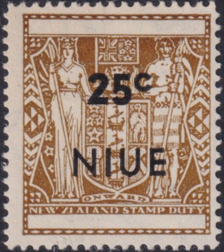 Niue SG135 25c. Arms type, optd with 'NIUE' and value, deep yellow-brown