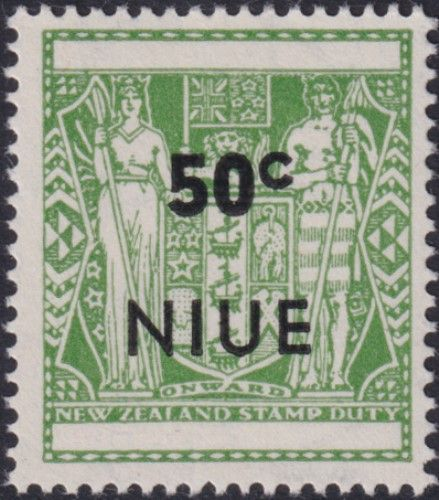 Niue SG136 50c. Arms type, optd with 'NIUE' and value, pale yellowish green