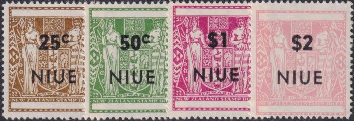 Niue SG135-8 1967 Definitive  Arms type, optd with 'NIUE' and value, perf 14 set of 4