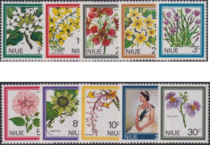 Niue SG141-50 1969 Definitive QEII and Flowers set of 10
